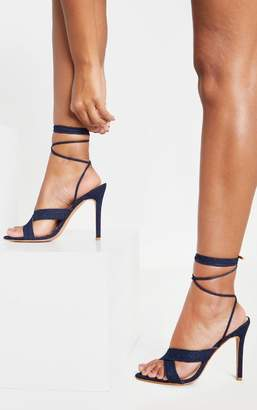 PrettyLittleThing Dark Wash Denim Cross Strap Ankle Tie Sandal