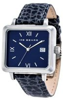 Ike Behar Square Leather Strap Analog Watch