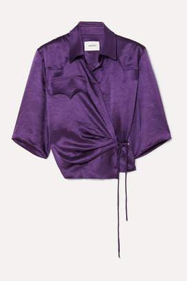 Nanushka Dalas Washed-satin Wrap Blouse - Purple