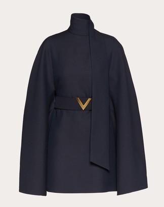 Valentino Gold V Crepe Couture Dress Women Navy Virgin Wool 65%, Silk 35% 38