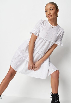 Missguided White Frill Sleeve Broderie Smock Dress