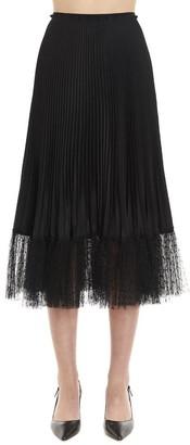 RED Valentino Pleated Tulle Hemmed Midi Skirt