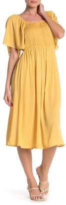 Susina Short Sleeve Smocked Midi Dress