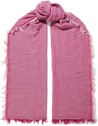 Rag & Bone Nassau Frayed Herringbone Wool And Cotton-blend Scarf