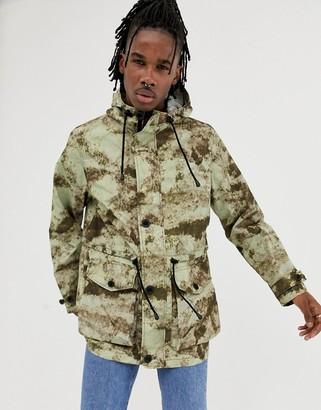 Asos Design DESIGN lightweight parka jacket in camo print-Green