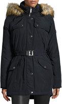 MICHAEL Michael Kors Belted Puffer Coat w/ Faux Fur Trim, Navy