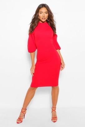 boohoo High Neck Split Sleeve Midi Dress