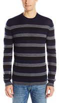 French Connection Men's Merino Stripe Knits Crew Neck Sweater, Marine Blue/Dark Grey Mel