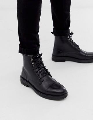 Walk London wolf toe cap boots in black wax leather