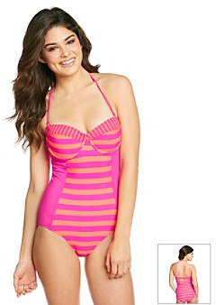 """Hurley Surfside Stripe"""" Bandeau One-Piece Suit With Underwire"""
