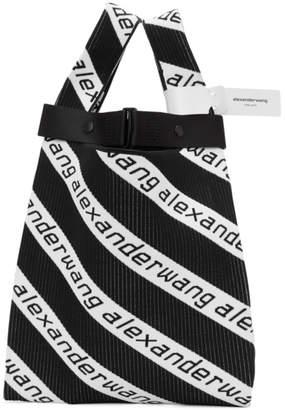 Alexander Wang Black and White Medium Logo Jacquard Shopper Tote
