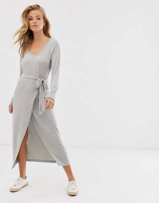 Asos Design DESIGN belted marl jersey knit midi dress-Grey