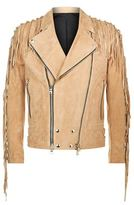 Balmain Suede Tasselled Biker Jacket