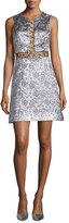Michael Kors Sleeveless Brocade Dress w/Rings, Silver
