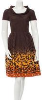Oscar de la Renta Embroidered Silk Dress