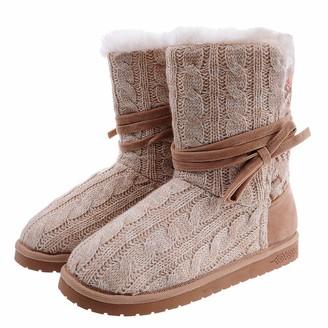 BEIGE Shoeslocker Womens Warm Plush Bootie Slippers Size 8
