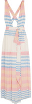 Mara Hoffman Striped Crinkled-voile Maxi Dress - Pastel pink