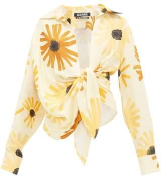 Jacquemus Bahia Sunflower Print Knotted Linen Shirt - Womens - Yellow Multi