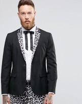 Religion Skinny Blazer With Leopard Lapel