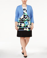 Jessica Howard Plus Size Floral-Print Shift Dress and Shrug