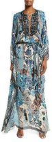 Roberto Cavalli Floral Lace-Up Long-Sleeve Maxi Dress, Blue