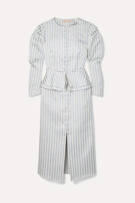 Brock Collection Striped Twill Peplum Dress - White