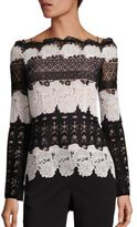 Yigal Azrouel Off-The-Shoulder Two-Tone Lace Blouse