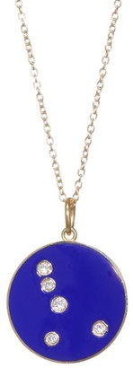 Bare Diamond & Enamel Cancer Pendant With Stars