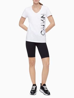 Calvin Klein Performance Striped Logo V-Neck Top