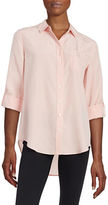 Lord & Taylor Petite Button-Tab Blouse