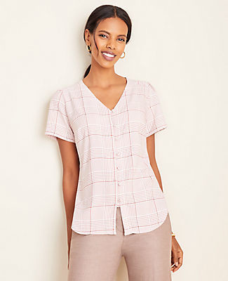 Ann Taylor Petite Plaid Covered Button Puff Sleeve Top
