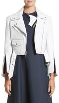 Calvin Klein Women's Plonge Leather Crop Moto Jacket