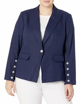 Tahari ASL Women's Plus Size Front Button Sleeve Peak Lapel Jacket