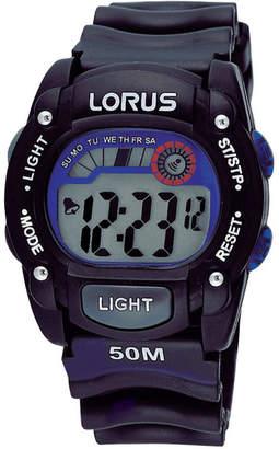 Lorus Lge Rnd Black Dial Black Strap