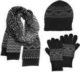 Muk Luks Men's Nordic Knit Hat, Scarf, and Texting Glove Set - Black