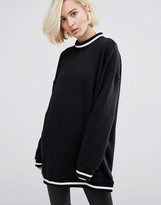 Dr. Denim High Neck Sweatshirt with Contrast Collar