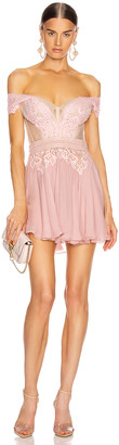 Aadnevik Off the Shoulder Lace Mini Dress in Pink | FWRD