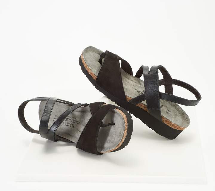 Naot Footwear Nubuck_Leather Backstrap Wedge Sandals - Blaire