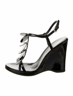 Miu Miu Leather T-Strap Sandals Black
