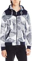 Southpole Men's Full Zip Hoodie with Body Cut and All Over Triangular Patterns