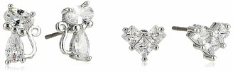 Betsey Johnson GBG) Women's CZ Stone Delicate Cat & Bow Duo Stud Earrings Set