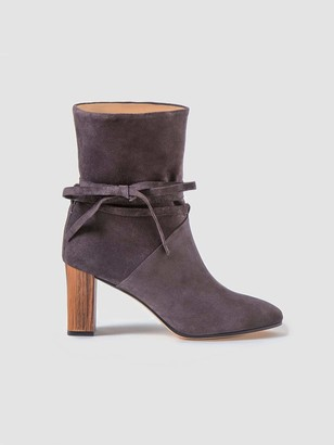 Sclarandis Silvia Tie Boot in Gray Size 39 Leather