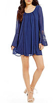 Sequin Hearts Crochet Inset Bell Sleeve Shift Dress