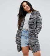 Brave Soul Plus Knit Cardigan In Colour Twist Knit