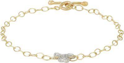 Cathy Waterman Diamond, Platinum & Gold Clover Charm Bracelet