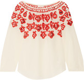Tory Burch Leyla Sequin-embellished Embroidered Silk Top - Ecru