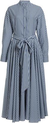 Martin Grant Belted Gingham Midi Shirt Dress
