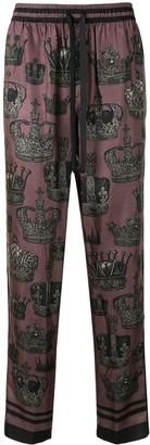 Dolce & Gabbana Crown Print Pyjama-Style Trousers