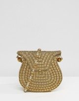 Park Lane Rhinestone and Metal Gold Cross Body Bag with Beaded Strap