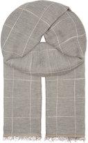 Brunello Cucinelli Grid Check Cotton & Linen Scarf